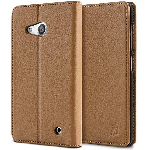 Microsoft Lumia 550 Tasche, BEZ® Microsoft Lumia 550 Hülle, Schutzhülle Handyhülle aus Kunstleder Flip Cover Taschenhülle mit Kreditkartenhaltern, Standfunktion, Geldbeutel, Magnetverschluss - Braun
