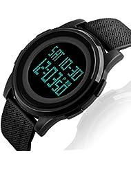 VenSten, orologio da polso da uomo, digitale, elettronico, sportivo, per escursioni e corsa, militare, con allarme e calendario, impermeabile fino a 50m, con luce LED,nero