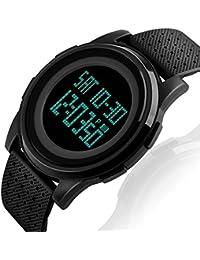 Reloj digital deportivo de pulsera para hombre, electrónicos, militar para correr al aire libre con alarma, calendario, LED, resistencia al agua a 50 metros, negro