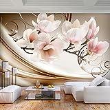 decomonkey | Fototapete Blumen Abstrakt 350x256 cm XL | Tapete | Wandbild | Wandbild | Bild | Fototapete | Tapeten | Wandtapete | Wanddeko | Wandtapete | Magnolie Orchidee Muster beige orange rosa