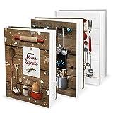 Geschenk-SET zu Weihnachten Geburtstag Hochzeit: 3 x DIN A5 Rezeptbuch Kochbuch Backbuch zum Selberschreiben MEINE REZEPTE sammeln Kochrezepte Backrezepte - Küche Essen gesunde Ernährung