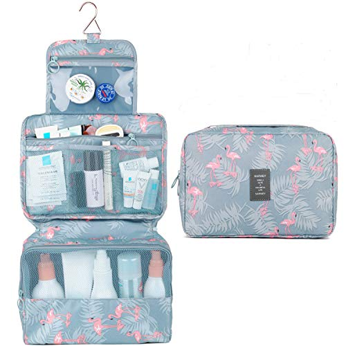 57f53a04794c Travel Hanging Toiletry Wash Bag Makeup Cosmetic Organizer for Women Girls  Kids Waterproof (A-Flamingo)