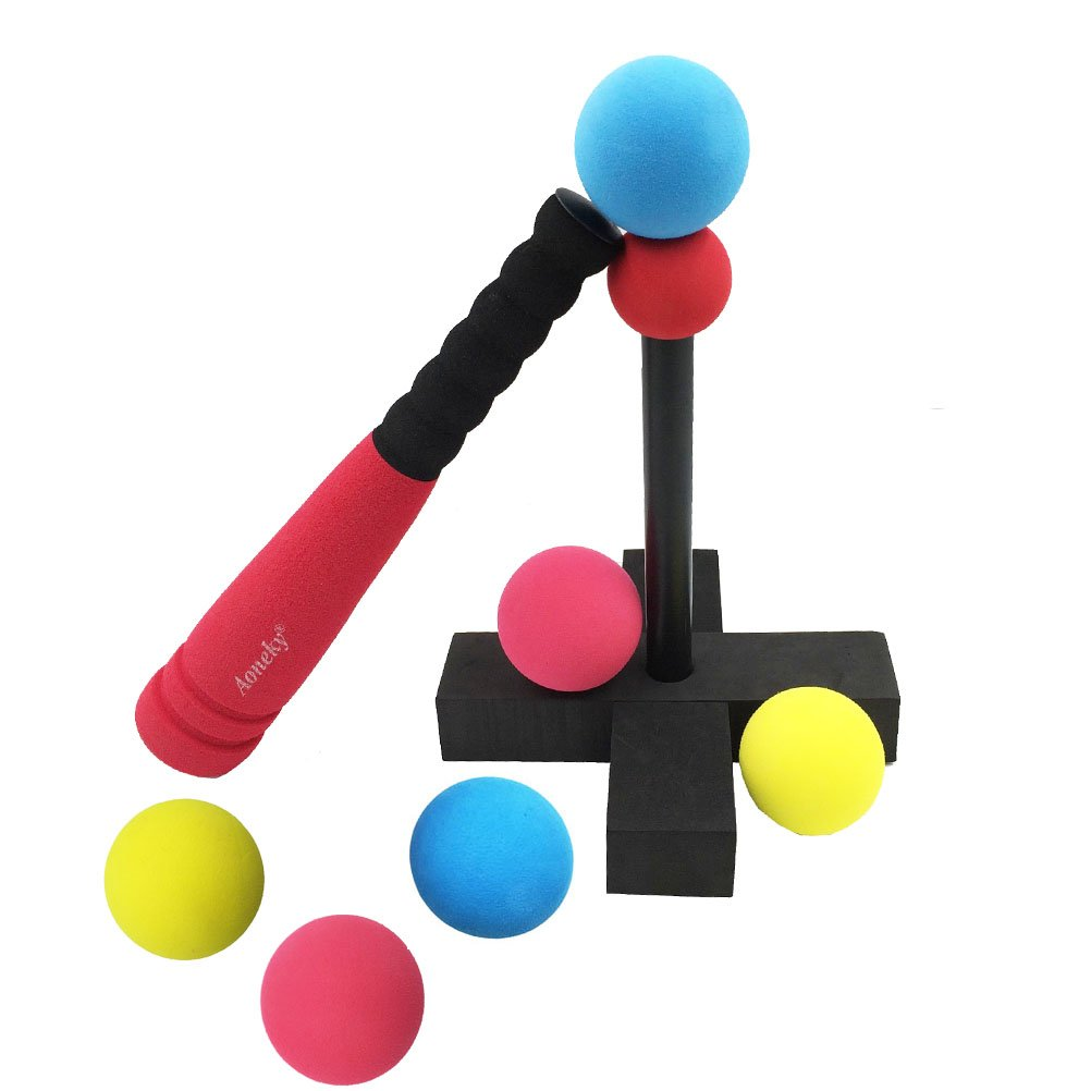 ball toys. aoneky mini foam tball set for toddler - carry bag included best baseball t ball toys kids age 1 2 years old (blue): amazon.co.uk: \u0026 games