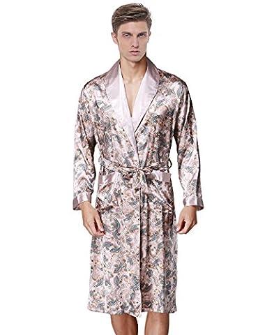 Waymoda Men's Luxury Silky Satin Evening Dressing Gown, Male Classic Elegant Paisley Pattern Kimono Wrap Robe, Various Colors, 3 Sizes Optional - Long