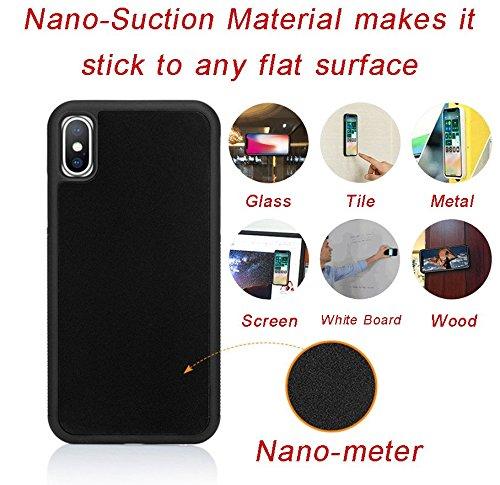 New Anti Gravity Handy Schutzhülle für iPhone x-5.8inch, Hände Frei Magical Nano Cover Zubehör Saugnapf, One Size, Schwarz (Lg 4g-fällen)