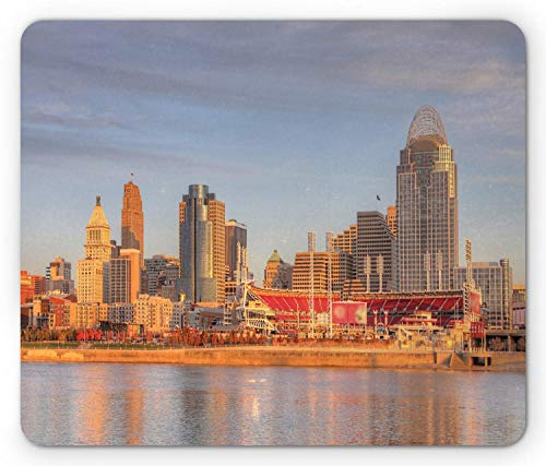 SHAQ Cincinnati Mouse Pad, Alleyway Landline Buildings Near The Stadium Waterfront Orange Grey Hues City, Standard Size Rectangle Non-Slip Rubber Mousepad, Multicolor