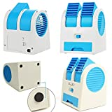 Jannat Mini Fan and Portable Dual Bladeless Small Air Conditioner Water Air Cooler Powered by USB and Battery Use of Car/Home/Office