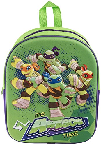 Children Kids Ninja Turtles Raph Donnie Mikey 3D Image Rucksack School Bag Half Shell Heroes Backpack by Vinsani (Ninja Turtles Shell Backpack)