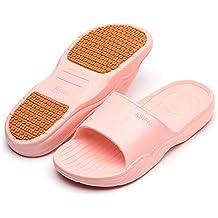 Happy Lily mujeres/hombres de Slip On Zapatillas sandalias playa Mule pensar espumas de ducha antideslizante suela zapatos de piscina baño Slide, rojo
