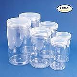 BENECREAT 6 PACK durchsichtigen Kunststoff-Box f¨¹r S¨¹?igkeiten Zylinder, Display, Lagerung, Verpackung, Organisation und Pr?sentation (3 Gr??e)