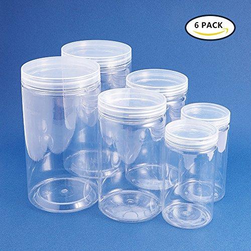 BENECREAT 6 PACK durchsichtigen Kunststoff-Box f¨¹r S¨¹?igkeiten Zylinder, Display, Lagerung, Verpackung, Organisation und Pr?sentation (3 Gr??e) (Organisation-boxen)