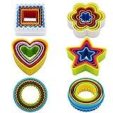Kaishan Ausstechformen-Set aus Kunststoff, in verschiedenen Formen (Sternform, Blumenform, runde Form, quadratische Form, Herzform), BPA-frei, bunt, Set mit 25 Stück