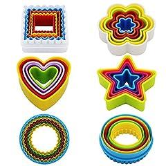 Idea Regalo - Kaishan - Set di 25 formine per biscotti, diversi motivi: a forma di stella, fiore, cuore, quadrate, rotonde, senza bisfenolo A, colorate