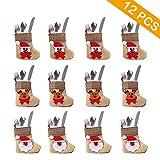 Aparty4u 12pcs titolari di Posate da Tasca Mini Calza di Natale Copricapo Copertura coltelli forchette Borse da tavola per Decorazioni Natalizie Ornamento di Natale