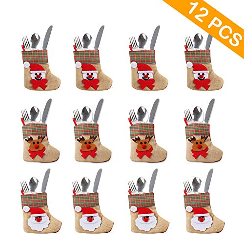 Aparty4u 12 Stück Besteckhalter Taschen Mini-Weihnachtsstrumpf Geschirr Abdeckung Messer Gabel Geschirr Taschen für Weihnachten Dekoration Weihnachten Party Ornament (Mini Bulk Strümpfe)