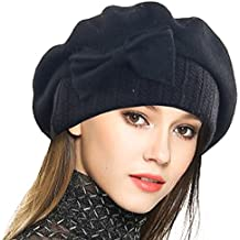 VECRY Mujer Boina 100% Lana Vestido Beanie Invierno Sombrero 0f8a7d9e41b
