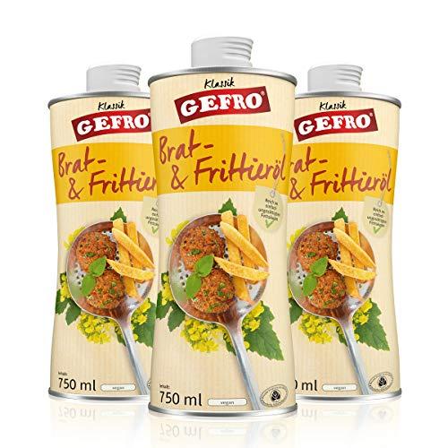 GEFRO Bratöl und Frittieröl mildes Rapsöl für mehrfaches hohes Erhitzen (3x750ml) - Frittieröl