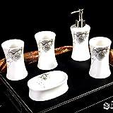 YWXG Keramik Bad-Set 5 Stück im europäischen Stil Kreative Badezimmer liefert Zahnbürstenhalter Seifenspender Seifenständer Spülen Tasse Badezimmer Zubehör Sets