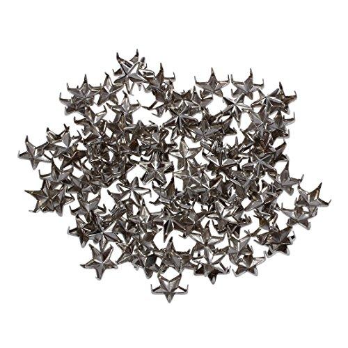 SODIAL(R) 100 St¨¹cke 7mm DIY Sterne Ziernieten Nieten Schmucknieten silberfarbe