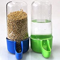 Sage Square 80ml Tube Shape Cage Food, Seed, Water Feeder Dispenser Cum Bowl with Removable Tray - No Spill No Mess…