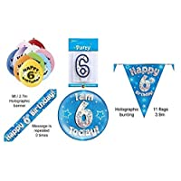 6th Birthday Party Set Age 6 Boys (Banner Balloons, Candle, Badge , Bunting )