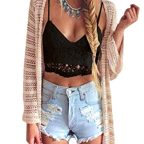 Mode Damen Weste,Xinan Frauen Crochet Behälter-Unterhemd Spitze Weste Bluse Bralet Bra Crop Top (S, Schwarz) (Crochet Crop)