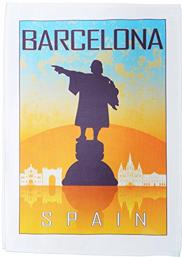 Barcelona - Vintage Style Travel Poster Large Cotton Tea Towel Vintage Tea Towel