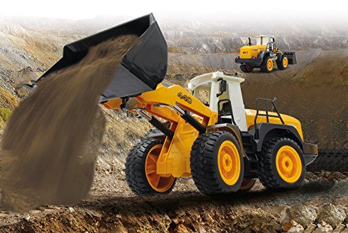 RC Baufahrzeug kaufen Baufahrzeug Bild 1: Jamara 410005 - Radlader 440 1:20 2,4G - Schaufel heben / senken / abkippen, realistischer Motorsound (abschaltbar), programmierbare Funktionen, Blinker, Autoabschaltfunktion, 2 Radantrieb*