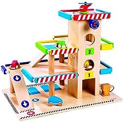 Janod 05715 - Garaje de madera de 3 pisos con 5 vehículos