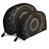 Gold Mandala On Black Ethnic Travel Cosmetic Storage Assorted Portable Bags Clutch Pouch Gift 2Pcs...