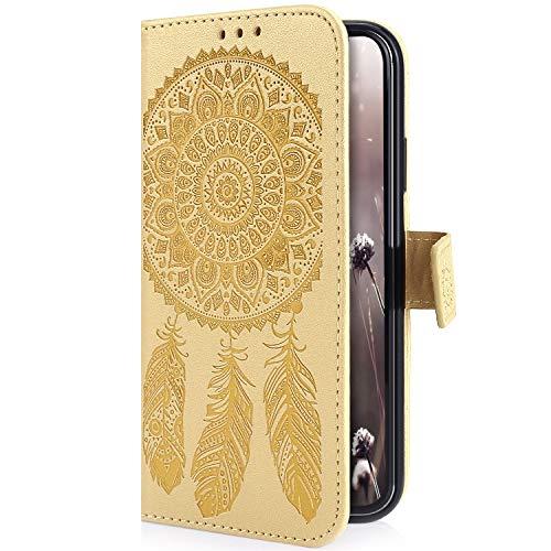 Uposao Kompatibel mit Samsung Galaxy S9 Plus Handyhülle Traumfänger Feder Muster Retro Handy Tasche Schutzhülle Wallet Flip Case Cover Brieftasche Klapphülle Leder Hülle Leder Tasche,Gold