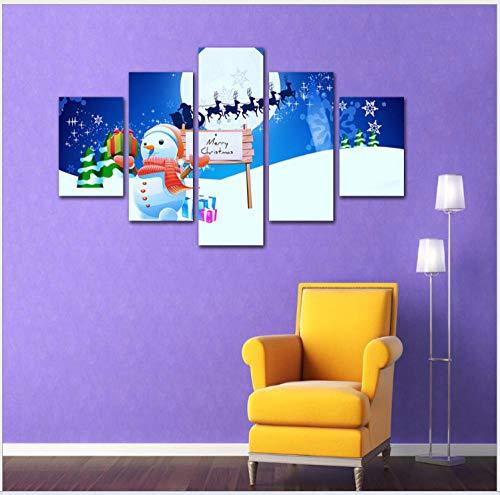Pintura decorativa, pintura de inyección de tinta, pintura al óleo, dormitorio infantil, lindo muñeco de nieve navideño-A_60 / 80/100 * 40_cm