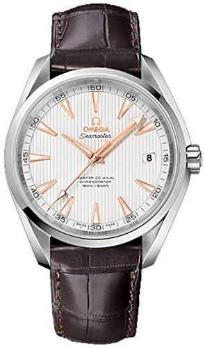 Omega Seamaster Aqua Terra 150M Co-Axial Men's Automatic Watch with Silver Dial Analogue Display and Brown Leather Strap 23113422102003