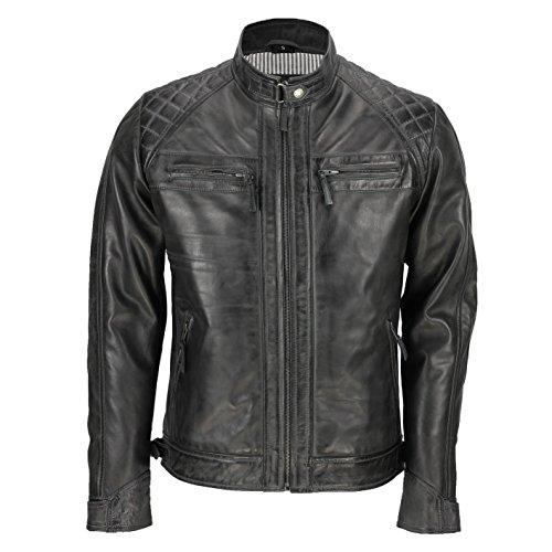 Chaqueta de piel auténtica estilo motero vintage y con cremallera para hombre de la marca Xposed, color negro Gris gris oscuro X-Large