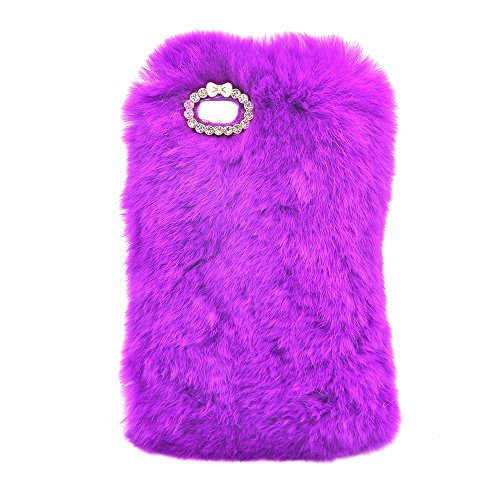 Sunroyal iPhone 5 5S SE Coque Fluffy Villi fourrure en peluche Laine Housse En Peluche De Lapin Breloque fantaisie Fourrure artificielle de lapin Douce Peluche Case Étui de Protection Arrière Pratique Violet