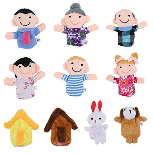 Thinkmax Finger Puppets, Samt Baby Story Time Requisiten, Soft Educational Handpuppe Set Puppen Spielzeug für Baby und (Requisiten Puppe)