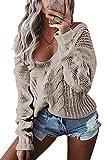 YOINS Oversize Pullover Damen Strickpullover Damen Sexy Off Shoulder Langarmshirt Schulterfrei V-Ausschnitt Causal T-Shirt Grau XL/EU46