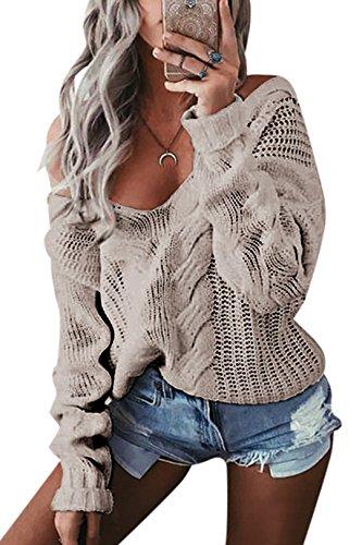 YOINS Oversize Pullover Damen Strickpullover Damen Sexy Off Shoulder Langarmshirt Schulterfrei V-Ausschnitt Causal T-Shirt Grau M/EU40-42