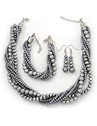Grey, Metallic Grey Simulated Glass Pearl Bead Multi Strand Neckace, Bracelet & Drop Earrings Set In Silver Tone - 42cm +6.5cm extender