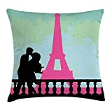 FAFANI Kiss Throw Pillow Cushion Cover, Couple in Paris Kissing Near The Eiffel Tower Love Valentine's Day Hand Drawn, Decorative Square Accent Pillow Case, 18 X 18 Inches, Seafoam Pink Black
