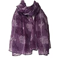 Purple Possum ® Scarf with White Tree Print, Ladies Wrap Shawl, Trees Floral Sarong