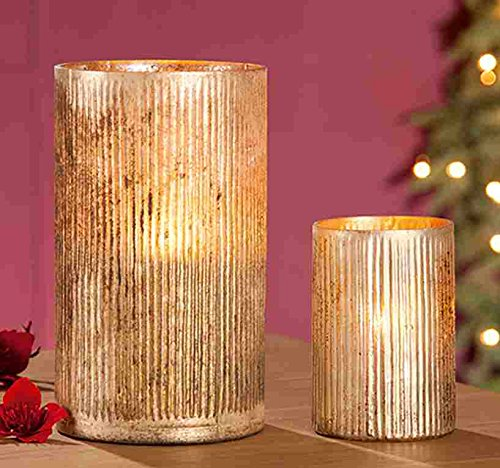 GILDE Glas Windlicht Nello 2 Stück antik Gold H = 25 cm D = 15 cm