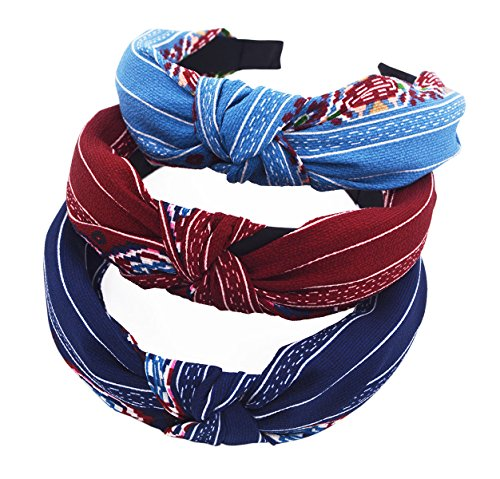 sthuahe 3Haar Reifen, Frauen Handgefertigt Lovely Stil Tuch Kreuz Knoten Haar Hoop Haarband Stirnband mit Kopfbedeckungen Haar Accessoires von Beauty Haar