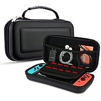Nintendo Switch Hülle, SophieBuy Travel Case für Nintendo Switch Mit 10 Eingebauten Spielkartenhaltern, Switch Tasche Hart Schützendes Oberteil Tragbarer für Nintendo Switch Gamepad & Zubehör (Schwarz)