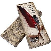 Pluma de inmersión hecha a mano Pluma de caligrafía inglesa Pluma de pluma Pluma de escritura Conjunto de tinta con 5 plumillas de repuesto y Base de punta de pluma para regalo de papelería(Rojo)
