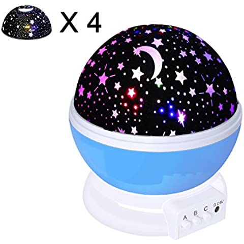 Iyowin Nueva Generación de 360 Grados de Rotación Modo de Luz del Proyector de la Estrella Romántica Fantasía Cosmos Luna del cielo de la Lámpara de Proyección de Luz Nocturna Dormitorio para Niños, bebés, Regalos de la Navidad, los Amantes del USB / Powered Batería (Azul) [Clase de Eficiencia Energética A+++]