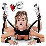 Kit set erotico costrittivo collo polsi caviglie + dildo anale a forma di cuore nuova idea regalo sadomaso per bondage bdsm