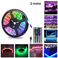 Gluckluz LED Lighting Strip TV Back Light 2M Strips Lights for Kitchen Hotel Home Theater HDTV Laptop PC Monitor, USB SMD 5050 Changing Color Strip Kit (Remote Control)