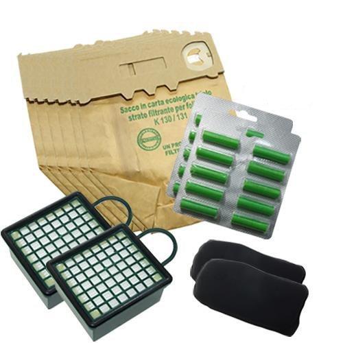 12bolsas + 15Ambientadores + 2Filtros EPA + 2Filtros olores para VK 130131Aspiradora Vorwerk Ambientadores