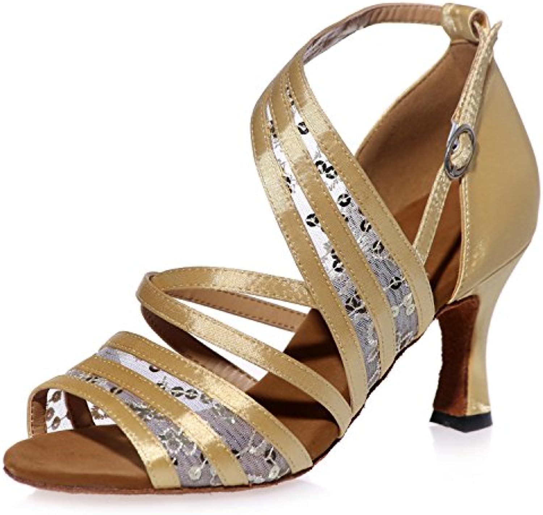 Elobaby Scarpe da Ballo da Donna di Latino 7,5 Cm Svasato Tacco in Pizzo Fiore Tango Prom Party   A8349 | unico  | Scolaro/Signora Scarpa